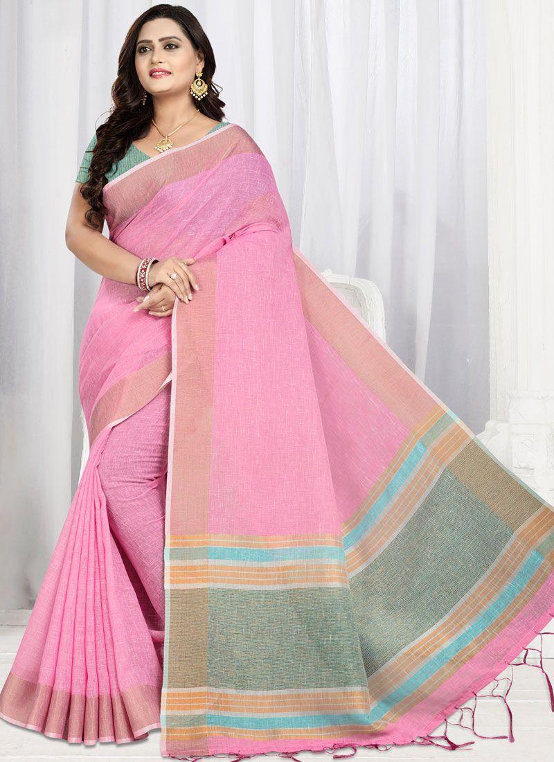 Weaving Linen Trendy Saree in Pink