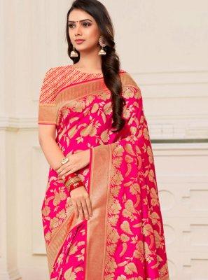 Weaving Magenta Classic Designer Saree