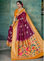 Weaving Magenta Classic Saree