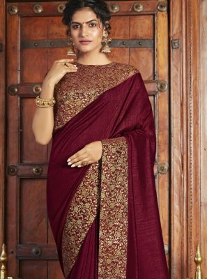 Weaving Maroon Art Silk Classic Saree