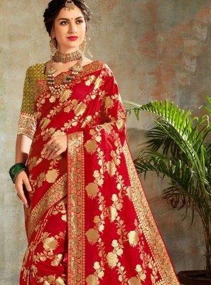 Weaving Maroon Classic Saree
