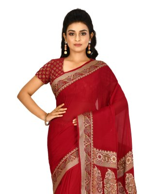 Weaving Maroon Contemporary Saree