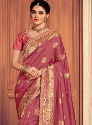 Weaving Maroon Designer Saree