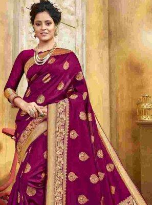 Weaving Maroon Jacquard Silk Silk Saree