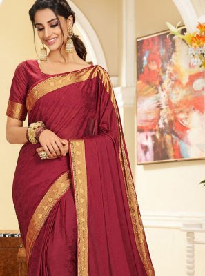 Weaving Maroon Silk Trendy Saree