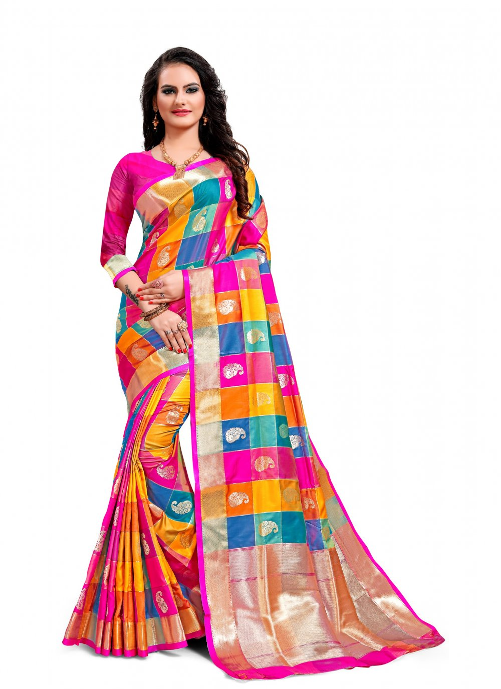 Weaving Multi Colour Jacquard Silk Classic Saree