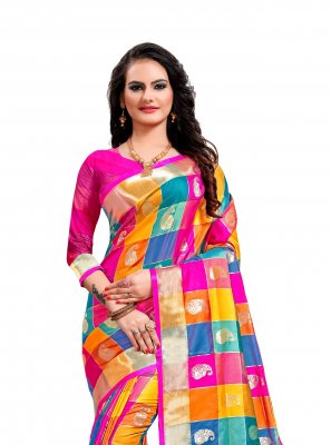 Weaving Multi Colour Jacquard Silk Classic Saree