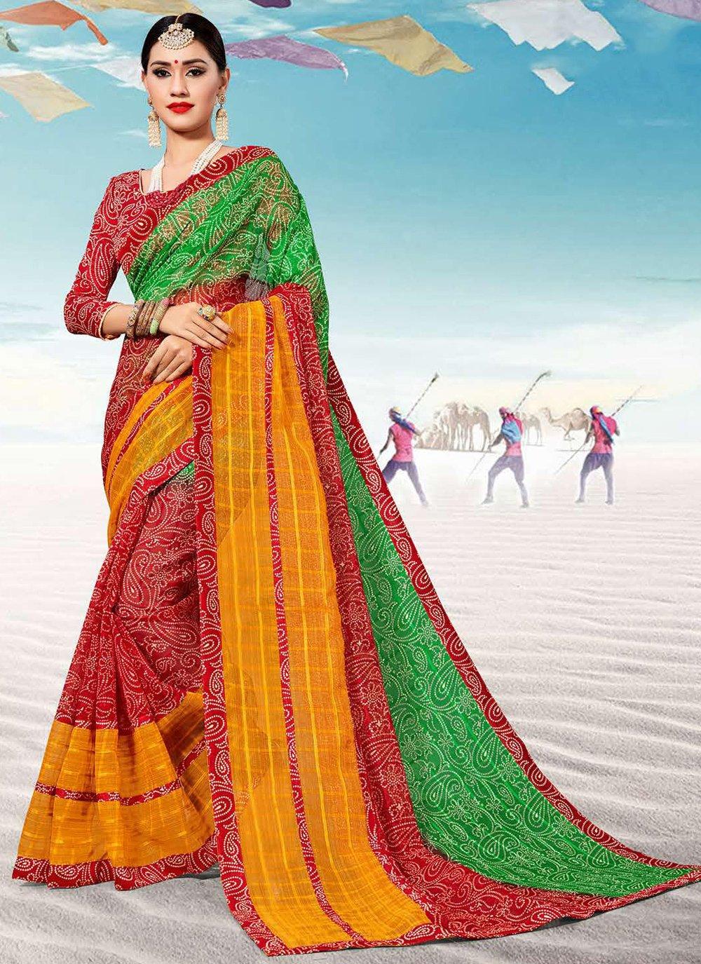 Weaving Multi Colour Silk Classic Saree