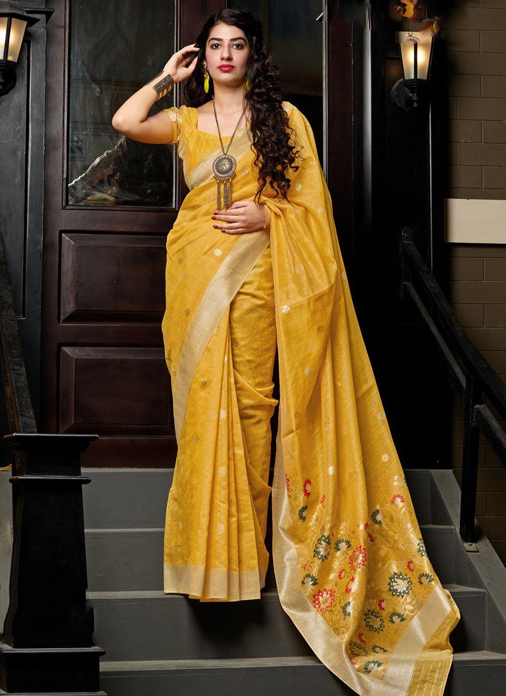 Weaving Mustard Designer Saree