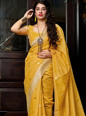 Weaving Mustard Designer Saree