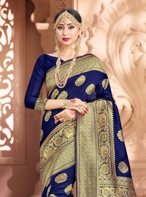 Weaving Navy Blue Art Banarasi Silk Classic Designer Saree