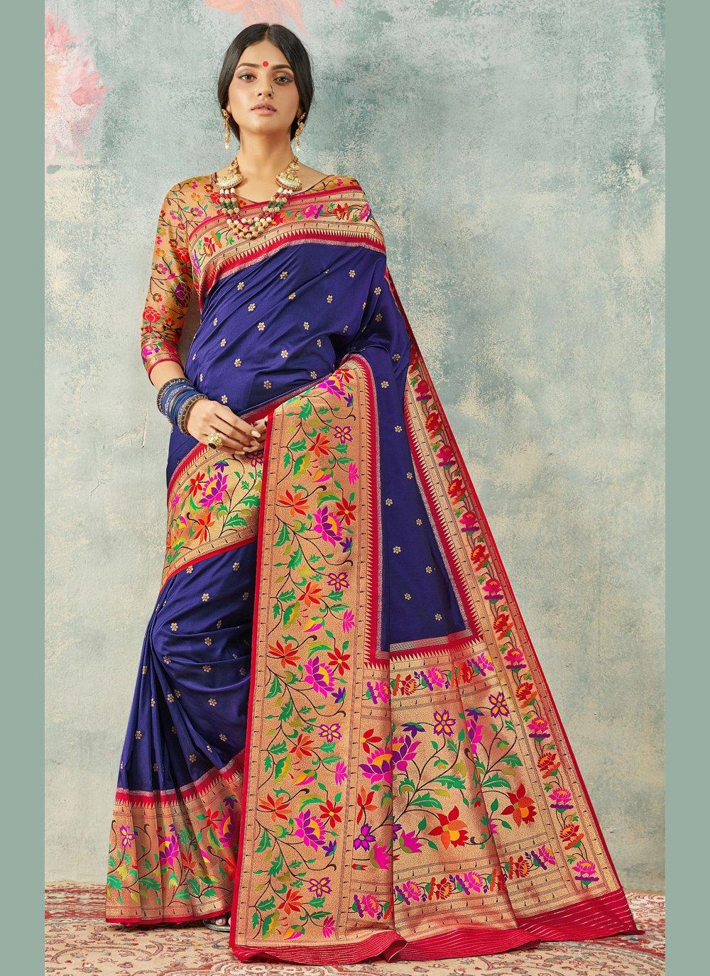 Weaving Navy Blue Handloom silk Contemporary Saree