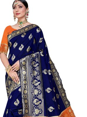 Weaving Navy Blue Silk Designer Saree