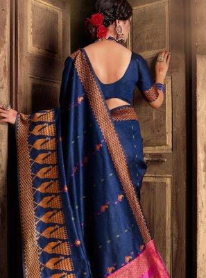 Weaving Navy Blue Silk Trendy Saree