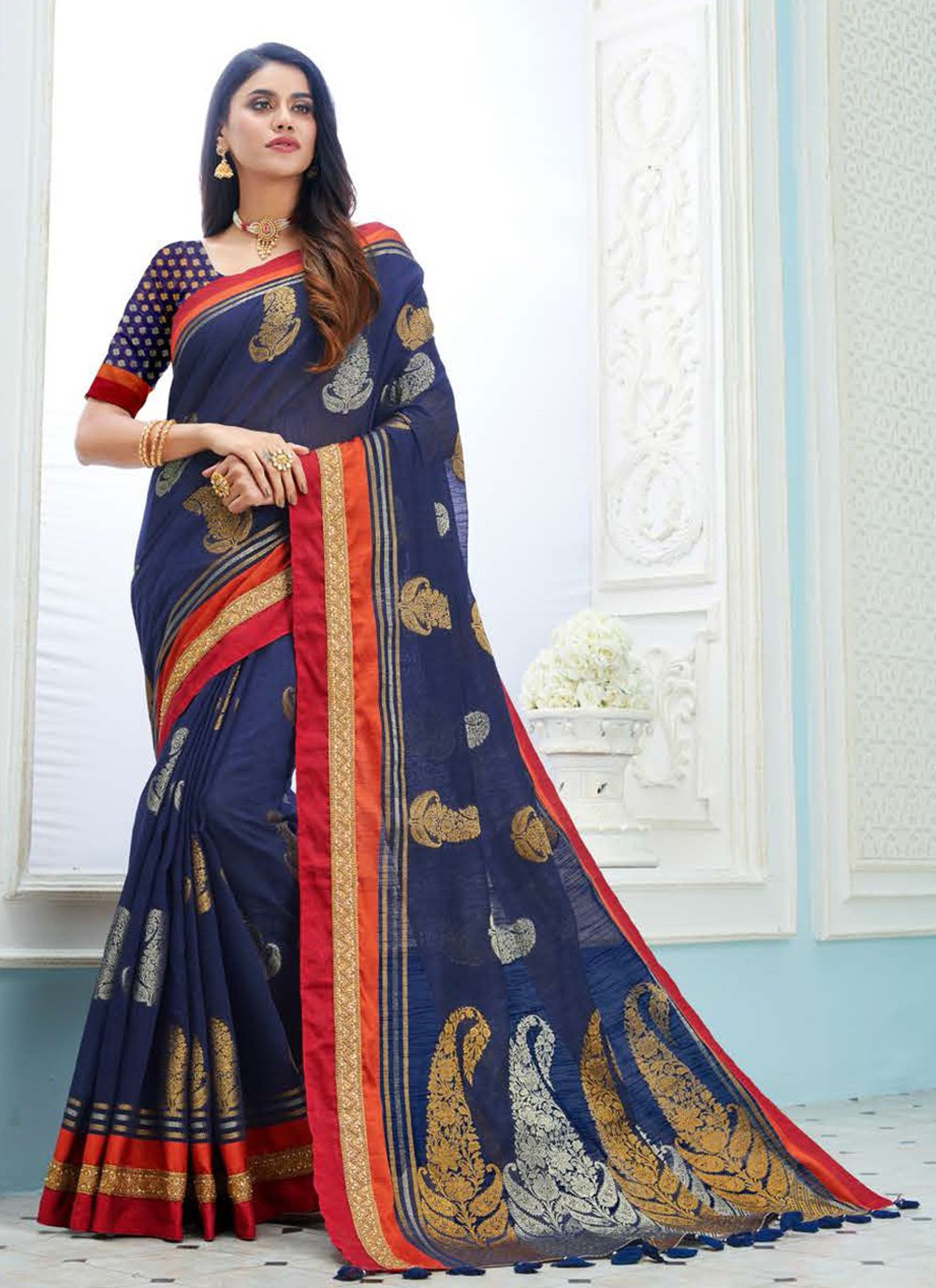 Weaving Navy Blue Traditional Saree