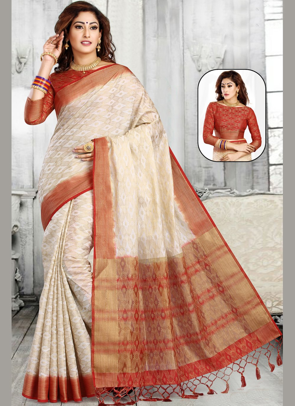 Weaving Off White Casual Saree