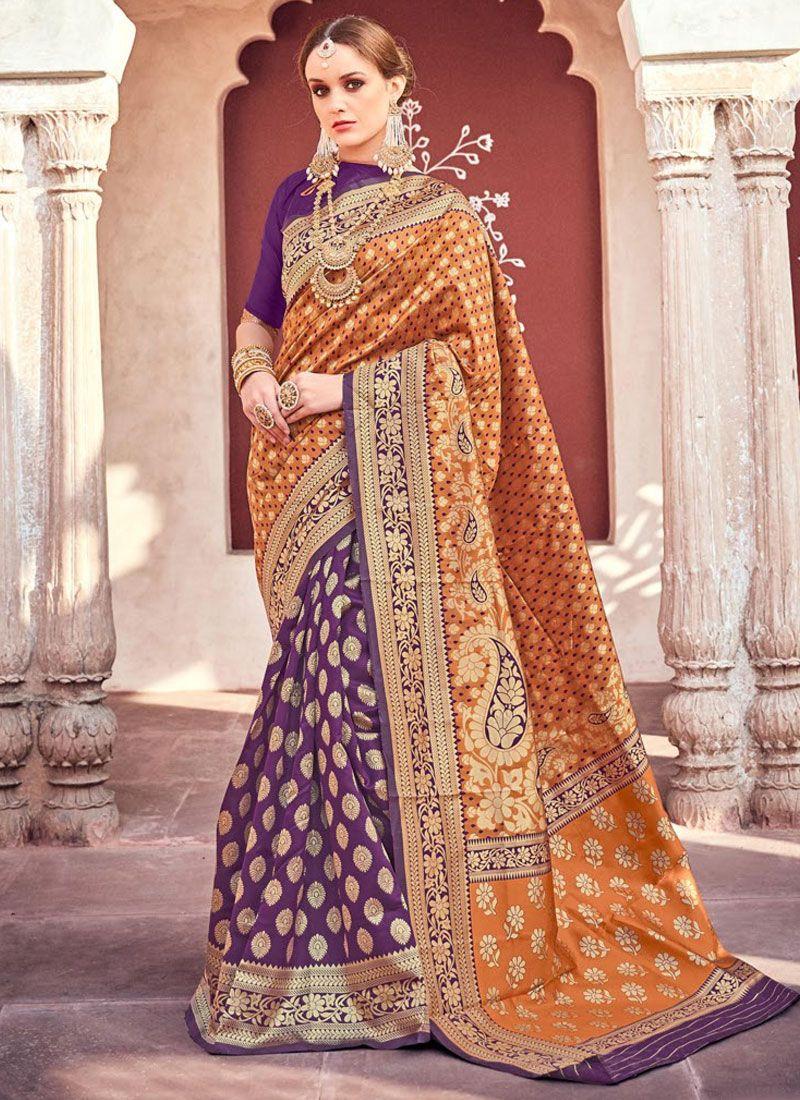 Weaving Orange and Purple Silk Classic Saree