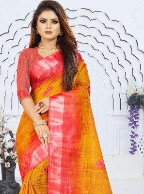 Weaving Orange and Red Silk Saree