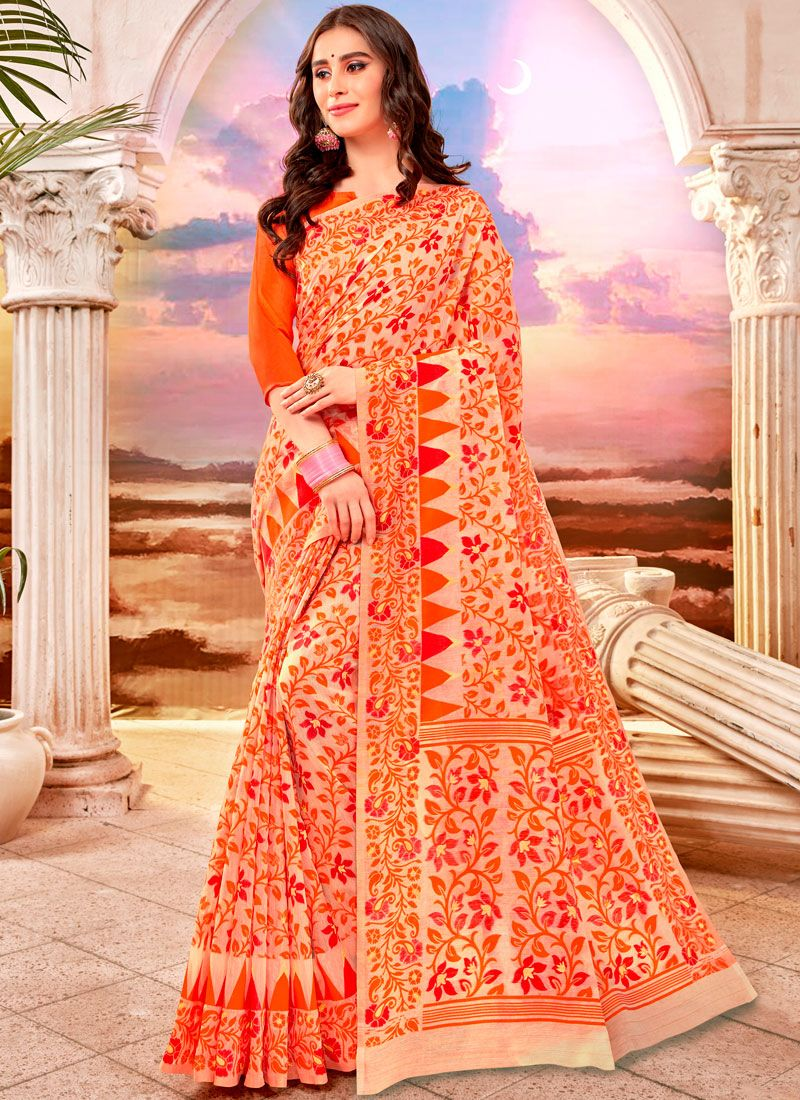 Weaving Orange Casual Saree