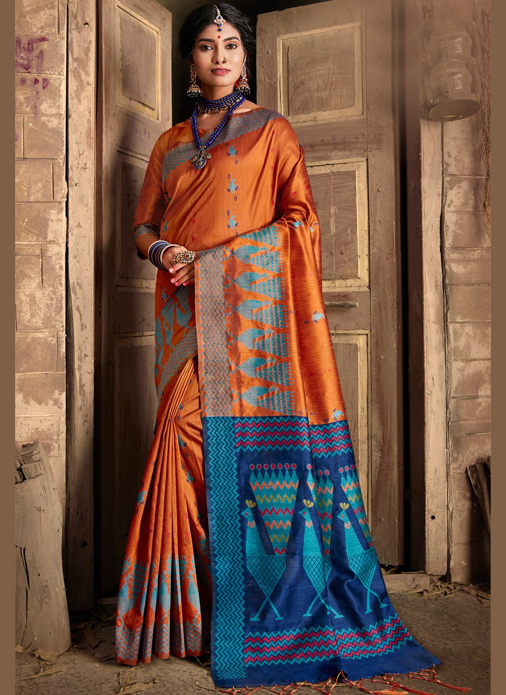 Weaving Orange Contemporary Saree