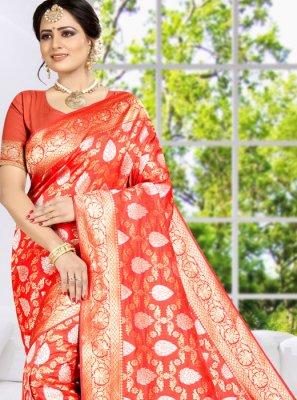 Weaving Orange Designer Saree