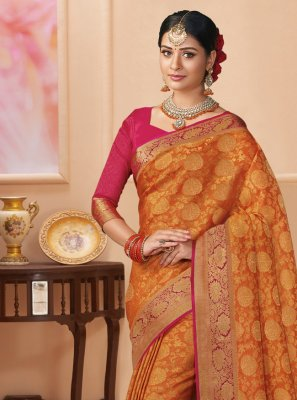 Weaving Orange Shimmer Classic Saree