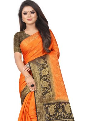 Weaving Orange Silk Saree