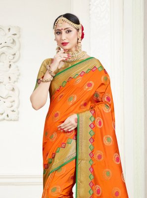 Weaving Orange Silk Trendy Saree