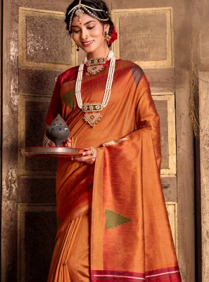 Weaving Orange Traditional Saree