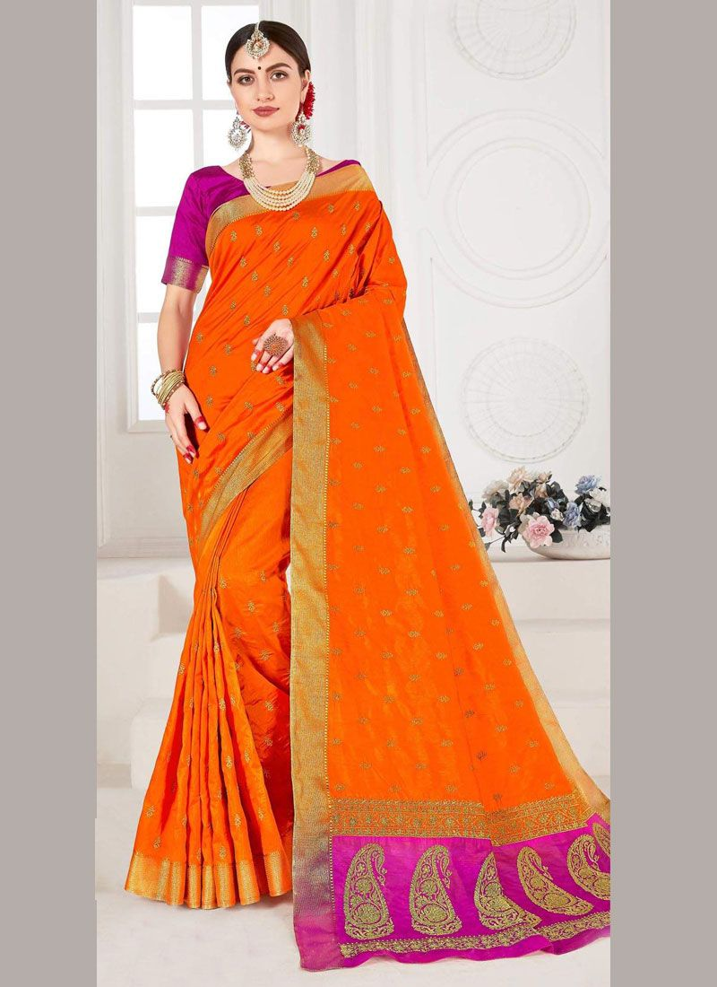 Weaving Orange Trendy Saree
