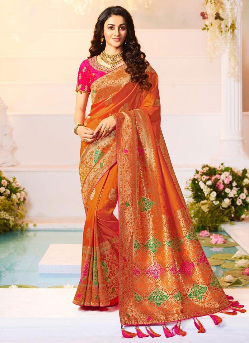 Weaving Orange Trendy Saree