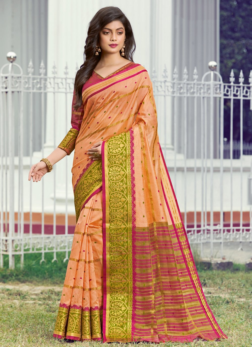 Weaving Peach Classic Designer Saree
