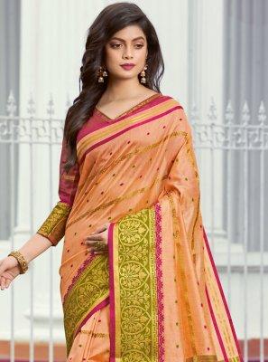 Weaving Peach Classic Designer Saree