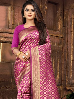 Weaving Pink Classic Saree