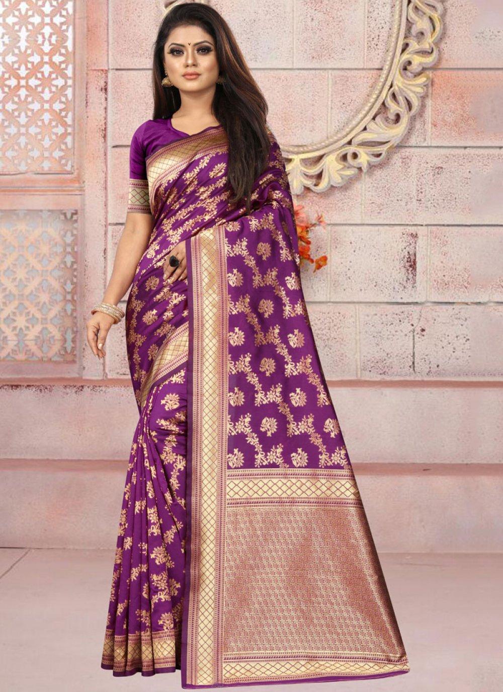 Weaving Purple Art Silk Casual Saree