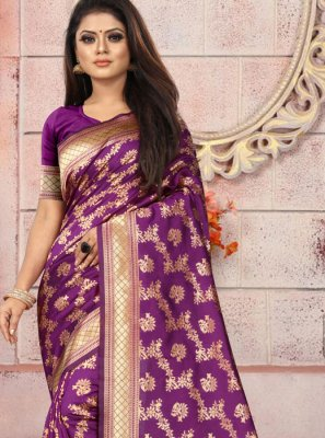 Weaving Purple Art Silk Casual Saree
