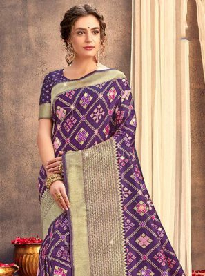 Weaving Purple Silk Designer Saree