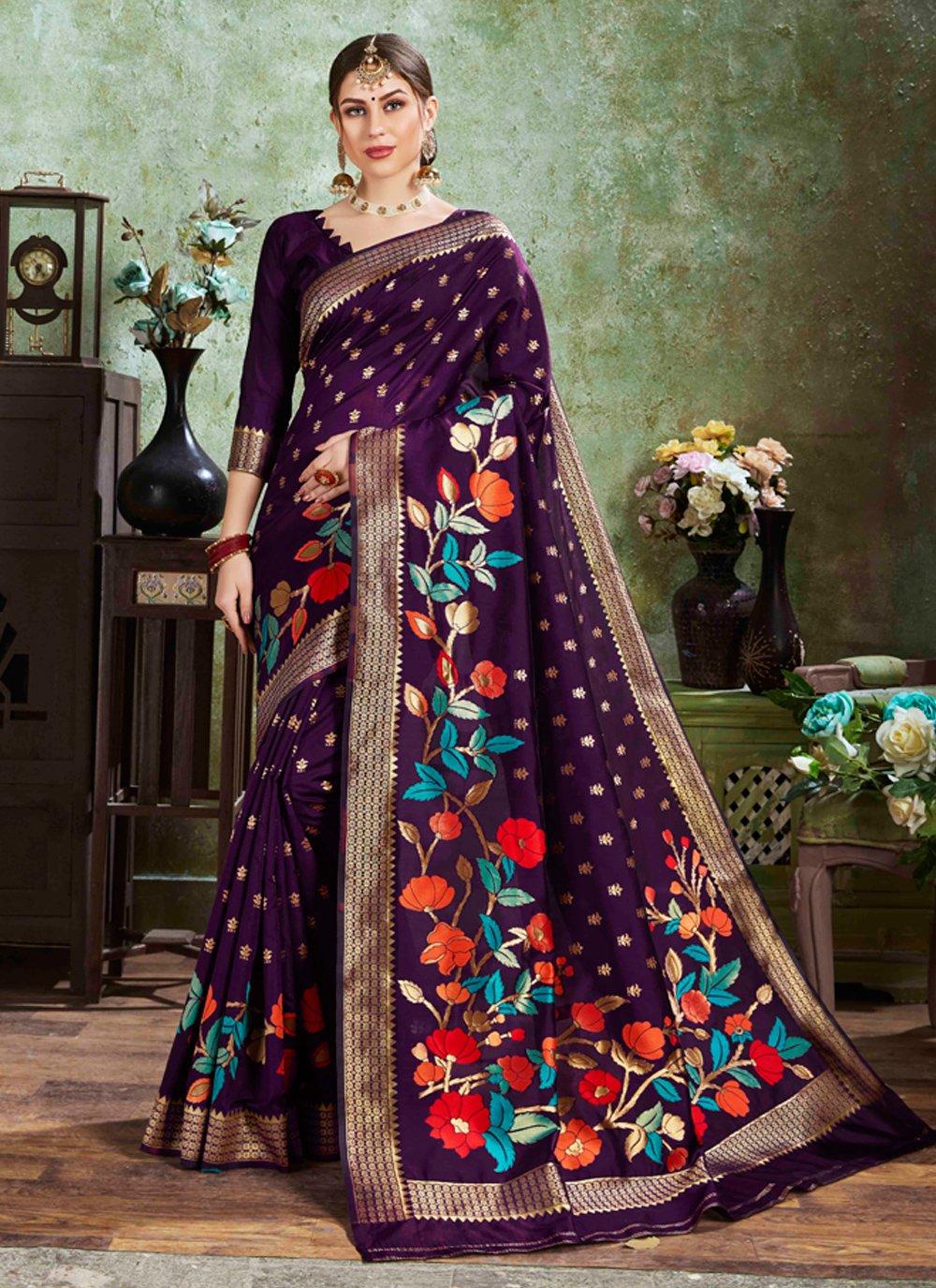 Weaving Purple Silk Designer Traditional Saree