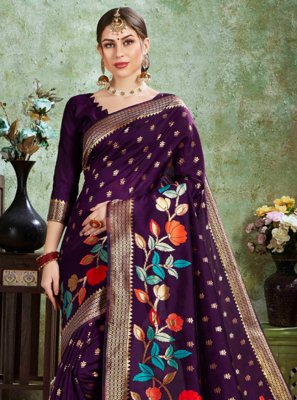 Weaving Purple Silk Designer Traditional Saree