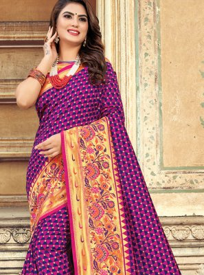 Weaving Purple Silk Saree
