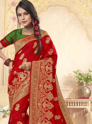Weaving Red Banarasi Silk Designer Saree