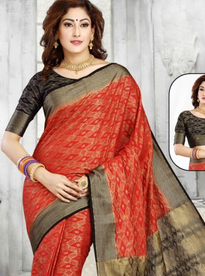 Weaving Red Casual Saree