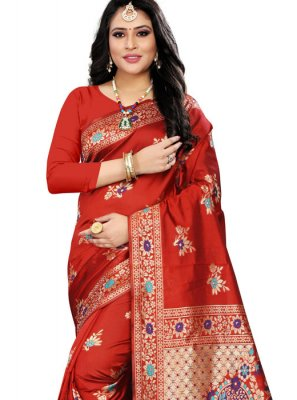 Weaving Red Classic Designer Saree