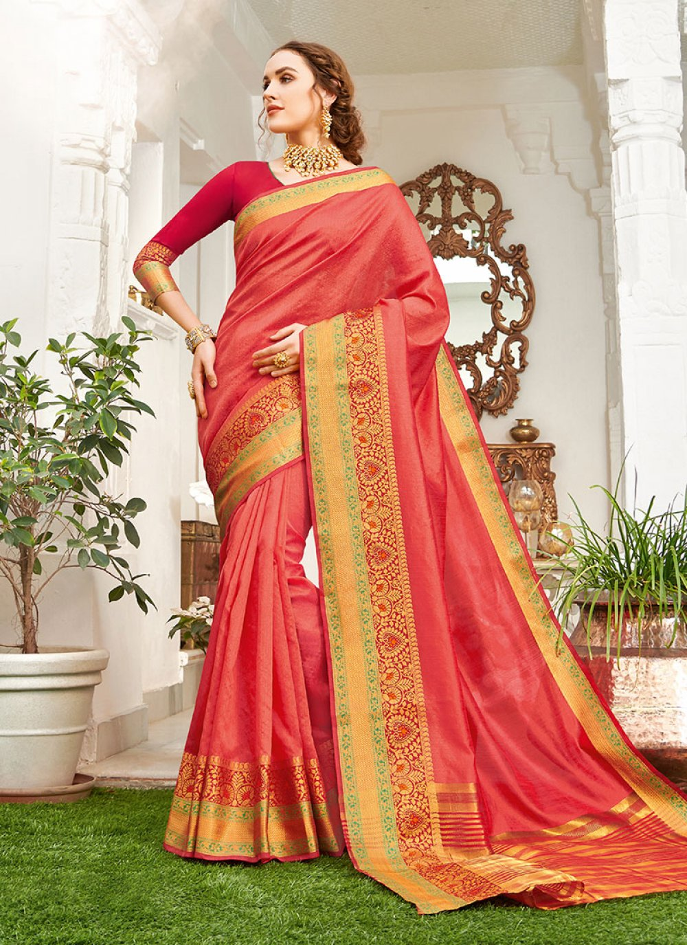 Weaving Red Handloom silk Classic Saree