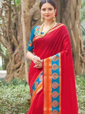 Weaving Red Handloom silk Classic Saree
