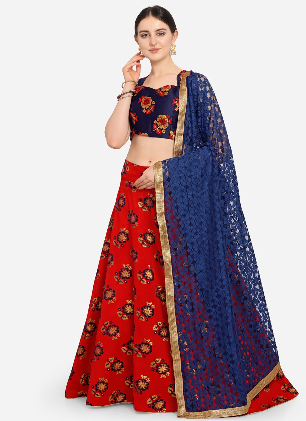 Weaving Red Jacquard Designer Lehenga Choli