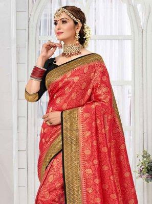 Weaving Red Saree