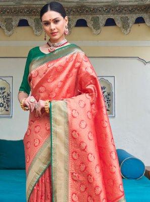 Weaving Red Silk Silk Saree