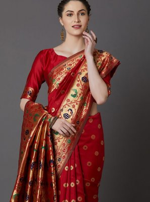 Weaving Red Traditional Saree