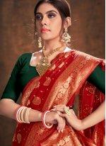 Weaving Red Trendy Saree